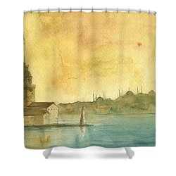 Istanbul Maiden Tower Shower Curtain
