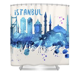 Istanbul Skyline Watercolor Poster - Cityscape Painting Artwork Shower Curtain
