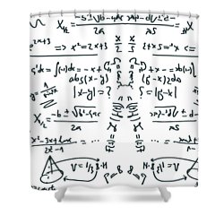 Shower Curtain featuring the drawing It Figures... by ReInVintaged