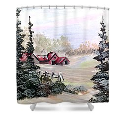 Shower Curtain featuring the painting It Is Winter - 3 by Dorothy Maier