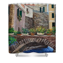 Italian Arched Bridge With Flower Pots Shower Curtain by Charlotte Blanchard