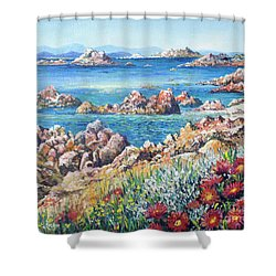 Italian Coastline Shower Curtain by Lou Ann Bagnall