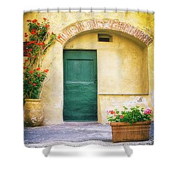 Shower Curtain featuring the photograph Italian Facade With Geraniums by Silvia Ganora