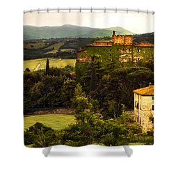 Italian Castle And Landscape Shower Curtain by Marilyn Hunt
