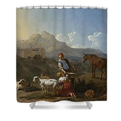 Italian Landscape With Girl Milking A Goat Shower Curtain by Karel Dujardin