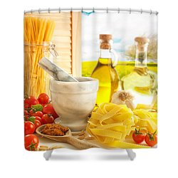 Italian Pasta In Country Kitchen Shower Curtain by Amanda Elwell