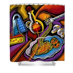 Italian Pasta Shower Curtain by Leon Zernitsky