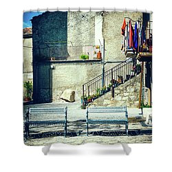 Shower Curtain featuring the photograph Italian Square With Benches by Silvia Ganora