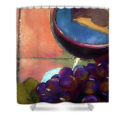 Italian Tile And Fine Wine Shower Curtain by Lisa Kaiser