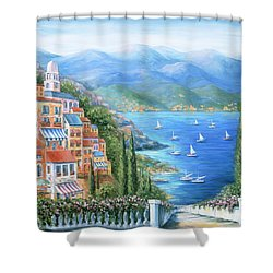 Italian Village By The Sea Shower Curtain by Marilyn Dunlap