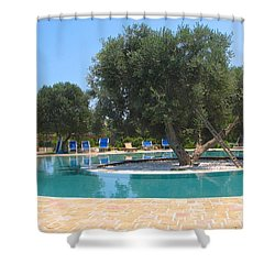 Italy Resort- Olive Tree In Pool Shower Curtain