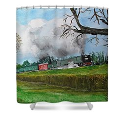 It's All Uphill To Scotland Shower Curtain by Carole Robins
