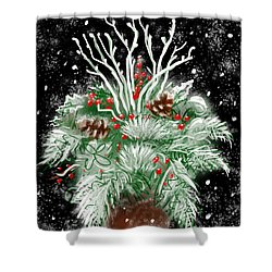 It's Snowing Shower Curtain by Jean Pacheco Ravinski
