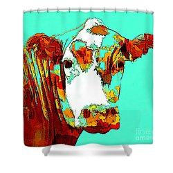 Turquoise Cow Shower Curtain