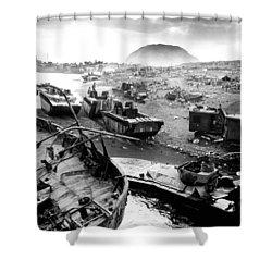 Iwo Jima Beach Shower Curtain by War Is Hell Store