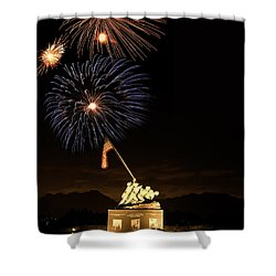 Iwo Jima Flag Raising Shower Curtain by Michael Peychich