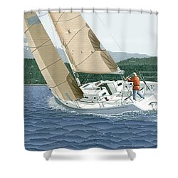 J-109 Sailboat Off Comox B.c. Shower Curtain