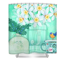 J Is For Jar Of Jonquils Shower Curtain