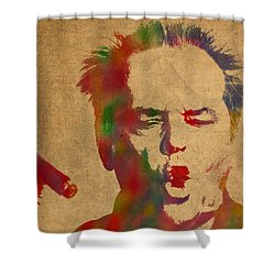 Jack Nicholson Smoking A Cigar Blowing Smoke Ring Watercolor Portrait On Old Canvas Shower Curtain by Design Turnpike