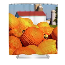 Jack-o-lantern Pumpkins At Farm Shower Curtain