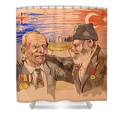 Shower Curtain featuring the painting Jack Ryan And Hyseyin Kacmaz by Ray Agius