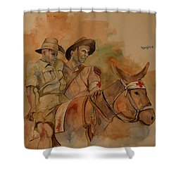 Shower Curtain featuring the painting Jack Simpson And Duffy by Ray Agius