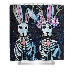 Shower Curtain featuring the painting Jackalope Love by Laurie Maves ART