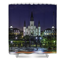 Jackson Square And St. Louis Cathedral At Dawn, New Orleans, Louisiana Shower Curtain