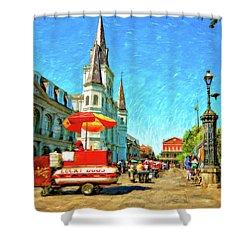 Jackson Square Oil Shower Curtain by Steve Harrington