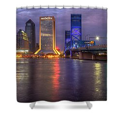 Jacksonville At Dusk Shower Curtain by Debra and Dave Vanderlaan