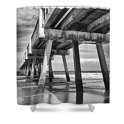 Jacksonville Beach Florida Usa Pier Shower Curtain by Vizual Studio