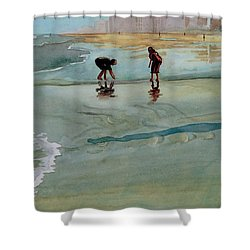 Shower Curtain featuring the painting Jacksonville Shell Hunt by Jeffrey S Perrine