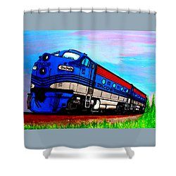 Shower Curtain featuring the painting Jacob The Train by Pjohn Artman