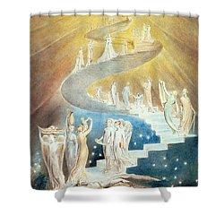 Jacobs Ladder Shower Curtain by William Blake