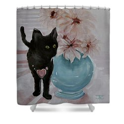 Jacobs's Cat Shower Curtain by Julie Todd-Cundiff