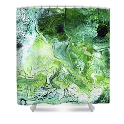 Jade- Abstract Art By Linda Woods Shower Curtain