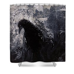 Jaded Original Raven Painting Black And White Crow Art Shower Curtain