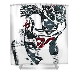 Shower Curtain featuring the mixed media Jadeveon Clowney Houston Texans Pixel Art by Joe Hamilton
