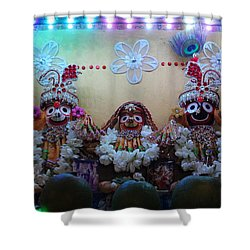 Jagannath, Baladev And Subhadra At Govinda's, Mumbai Shower Curtain by Jennifer Mazzucco
