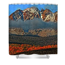 Shower Curtain featuring the photograph Jagged Peaks Fall by Scott Mahon