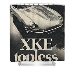 Jaguar Automobile Xke Topless Advert Shower Curtain