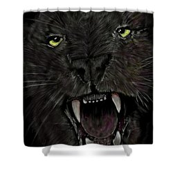 Shower Curtain featuring the digital art Jaguar by Darren Cannell