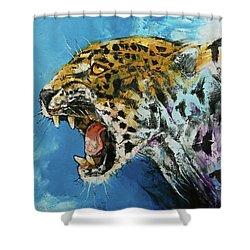 Jaguar Shower Curtain by Michael Creese