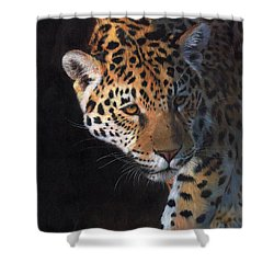 Shower Curtain featuring the painting Jaguar Portrait by David Stribbling
