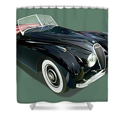 Jaguar Xk 120 Illustration Shower Curtain by Alain Jamar