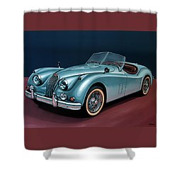 Jaguar Xk140 1954 Painting Shower Curtain by Paul Meijering