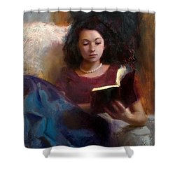 Shower Curtain featuring the painting Jaidyn Reading A Book 1 - Portrait Of Young Woman by Karen Whitworth