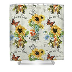 Shower Curtain featuring the painting Jaime Mon Jardin-jp3989 by Jean Plout