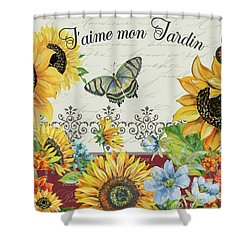 Shower Curtain featuring the painting Jaime Mon Jardin-jp3990 by Jean Plout