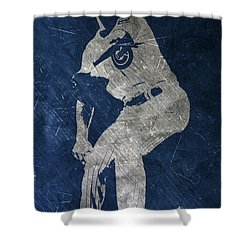 Jake Arrieta Chicago Cubs Art Shower Curtain by Joe Hamilton